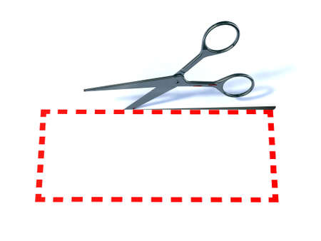 dashed line: scissors and label with red dotted lines 3d illustration