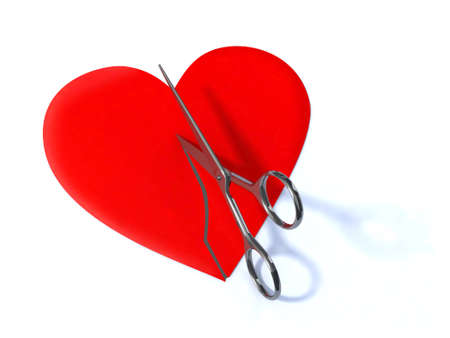 breaking up: the heart cut with scissors 3d illustration Stock Photo