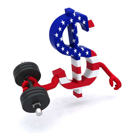 the dollar symbol which makes weight training Stock Photo - 14404586
