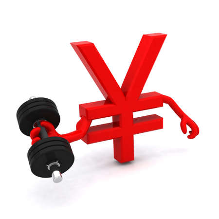 the yen symbol which makes weight training Stock Photo - 14404584