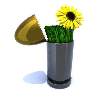 Bullet and flower, war and peace concept 3d illustration illustration