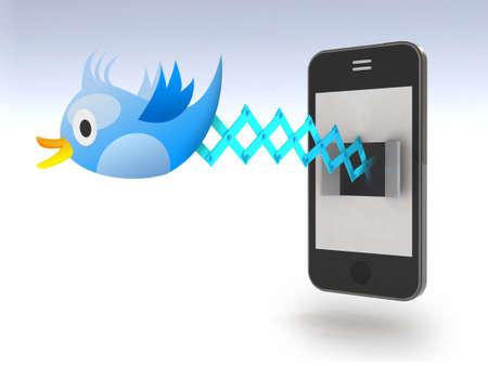tweets: Blue Bird Cuckoo tweets and sings on smartphone, 3d illustration Stock Photo