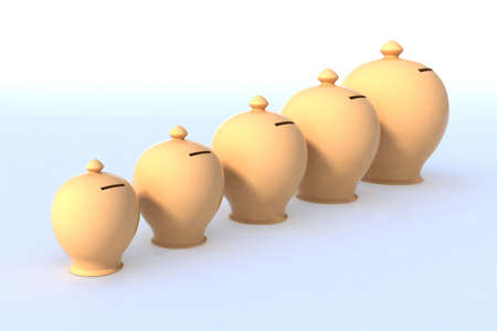 five money box from smallest to largest, 3d illustration Stock Illustration - 14404597