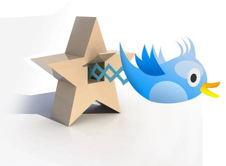 tweets: Blue Cuckoo tweets and sings, 3d illustration