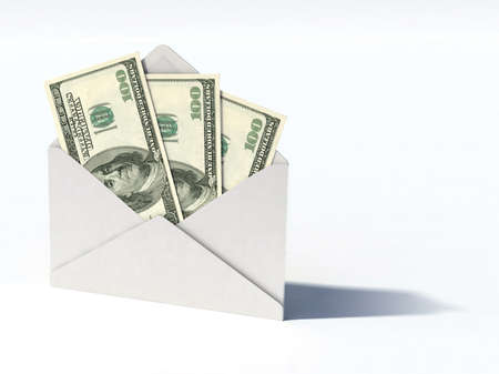 white envelope with dollars banknotes 3d illustration illustration
