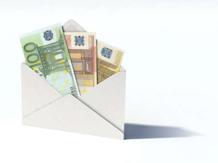 ユーロ紙幣の 3 d イラストレーションと白い封筒 写真素材