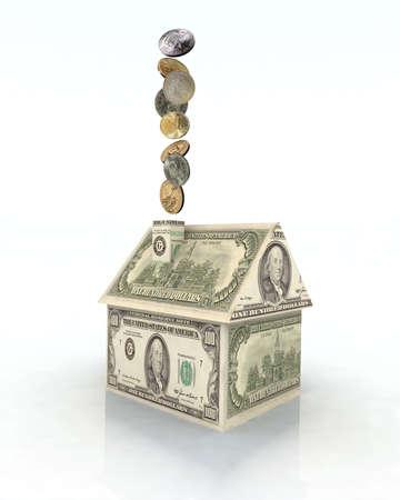house made with dollar money, 3d illustration illustration