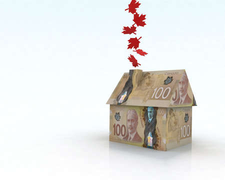 canadian cash: canadian dollar house, 3d illustration
