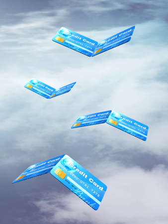 credit cards as a bird flying in the sky, 3d illustration Stock Illustration - 14586594