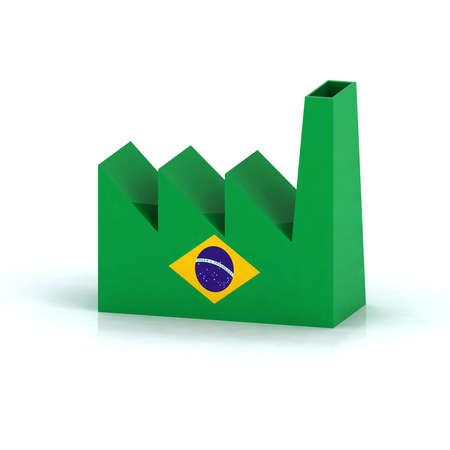 office product: brazil factory symbol concept with flag, 3d illustration Stock Photo