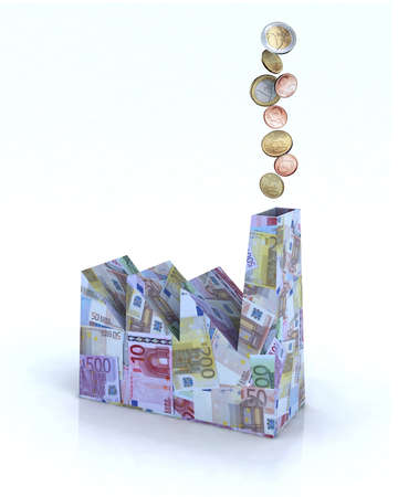 Building factory made of euro banknotes with euro coins come out of the chimney, 3d illustration illustration