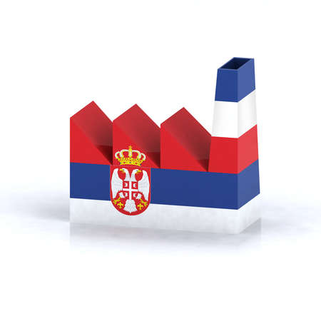 serbian factory symbol concept with flag, 3d illustration illustration