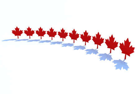 canadian icon: ten maple leafs, canadian states symbol 3d illustration