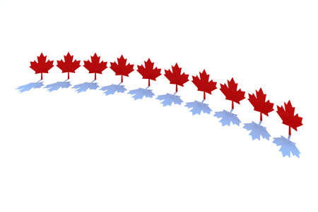 ten maple leafs, canadian states symbol 3d illustration illustration