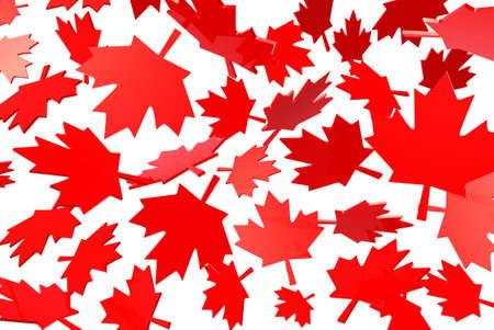 秋の紅葉、フラグ シンボル 3 d イラストレーションのカナダのカエデの葉します。