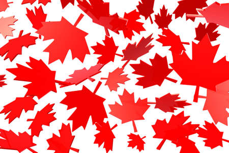canadian flag: canadian maple leafs autumn leaves, flag symbol 3d illustration