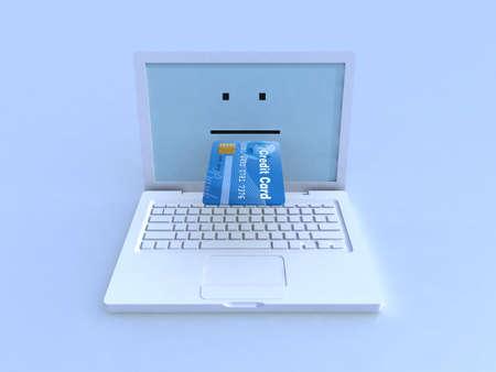 notebook and credit card on blue background, 3d illustration illustration