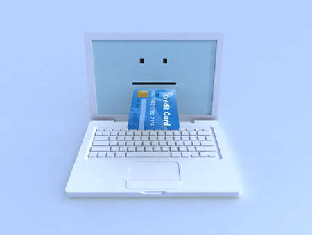 mouth screen: notebook and credit card on blue background, 3d illustration