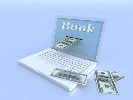 notebook and 100 dollar on blue background, 3d illustration Stock Illustration - 14586578