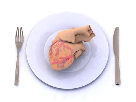 human heart on a plate with fork and knife, 3d illustration Stock Illustration - 14586538