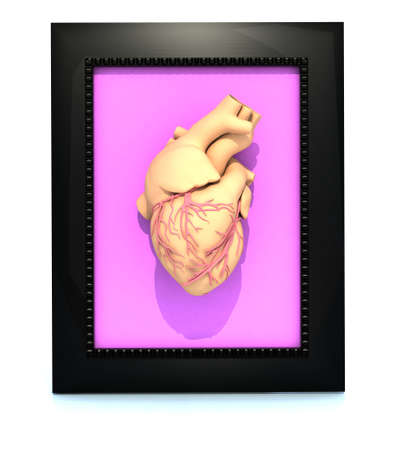 human heart in a framework, 3d illustration