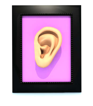 human ear in a framework, 3d illustration