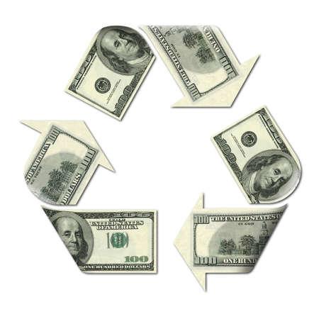 ドル紙幣の 3 d イラストレーションで作られたリサイクル マーク 写真素材