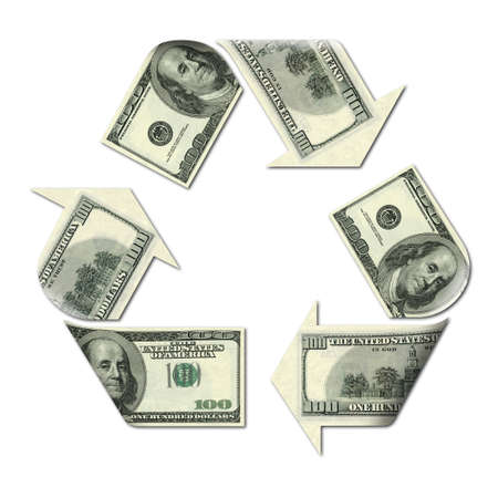 cash flows: recycle symbol made with dollars banknotes 3d illustration