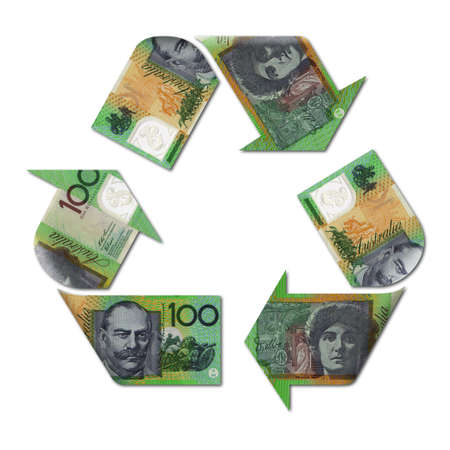 cash flows: recycle symbol made with australian dollar banknotes 3d illustration