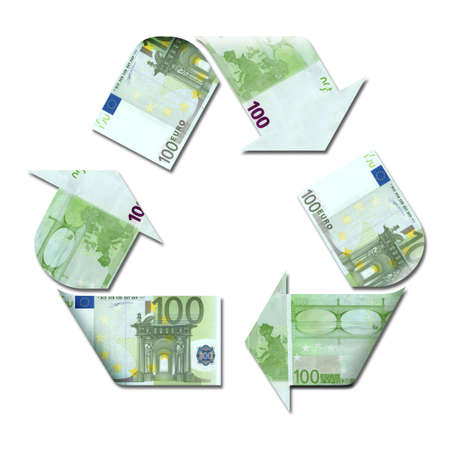 recycle symbol made with euro banknotes 3d illustration illustration