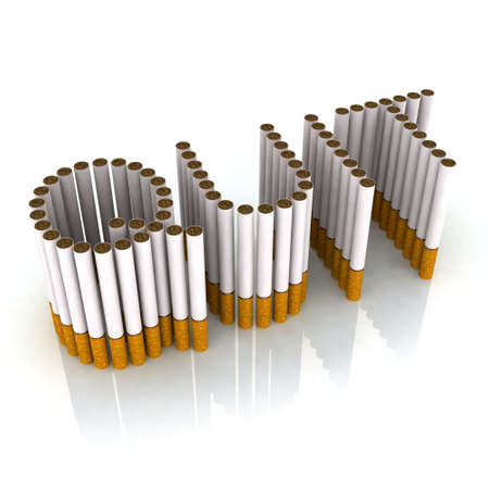 smoking: written quit made with cigarettes, 3d illustration