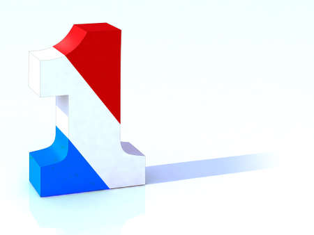 flag french icon: 3d number one with french flag