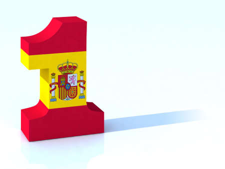 spanish flag: 3d number one with spanish flag