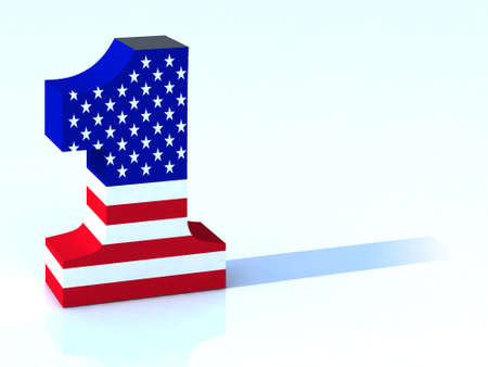 3d number one with american flag photo