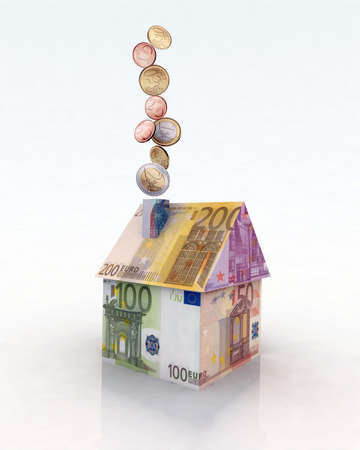 mortgage rates: house with euro notes and coins 3d illustration Stock Photo