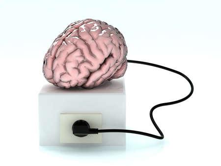 電源ソケットからロードする脳 写真素材