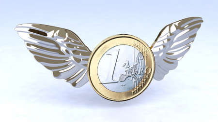 flying money: One Euro coin with metal wings, flying in the sky, 3d illustration