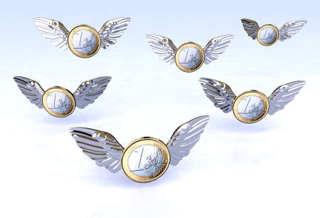 flying money: One Euro coins flying in the sky, 3d illustration