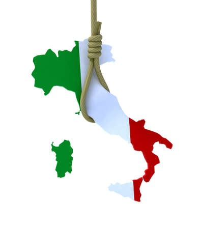 gallows: 3d concept problem of the crisis in Italy
