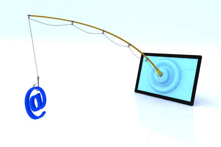 spamming: touch screen security concept 3d illustration Stock Photo