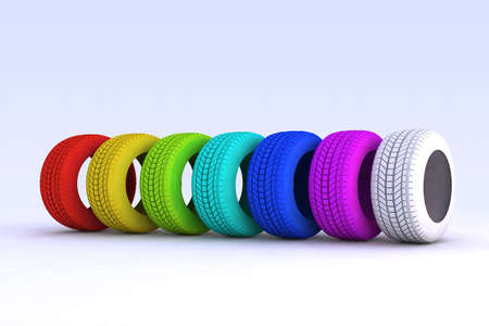 repairer: series of colored tires 3d illustration