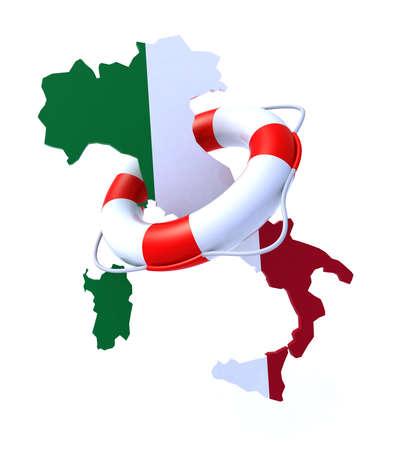 crisis economica: Problema de concepto 3d de la crisis en Italia Foto de archivo