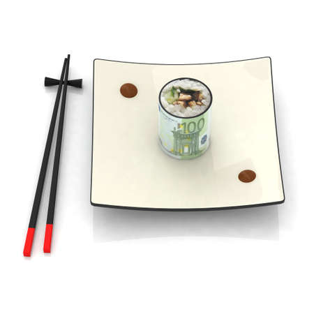 chopsticks and sushi plate with 100 euro banknote photo