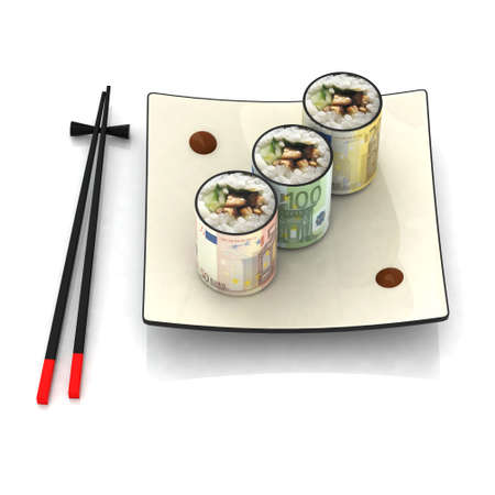 japanese currency: chopsticks and sushi plate with euro banknotes
