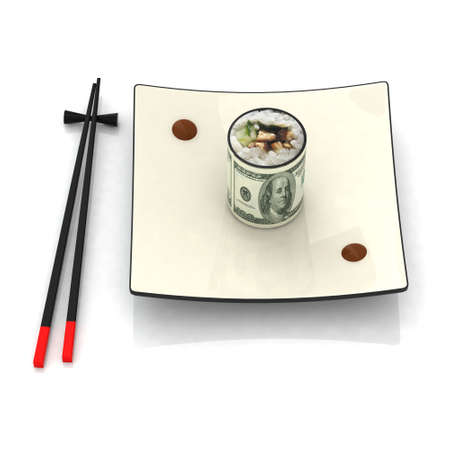 bank note: chopsticks and sushi plate with 100 dollar banknote Stock Photo