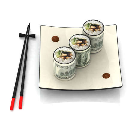 chopsticks and sushi plate with dollar banknotes photo