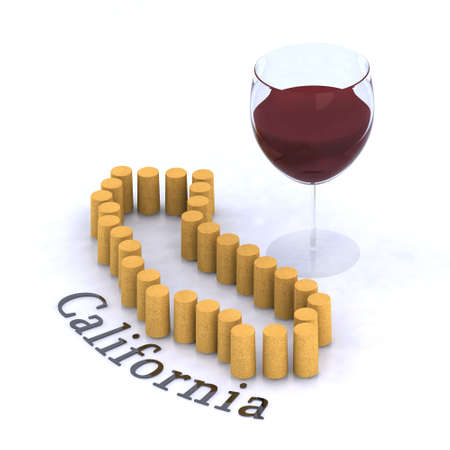 bung: california map with cork and glass of red wine, 3d illustration Stock Photo