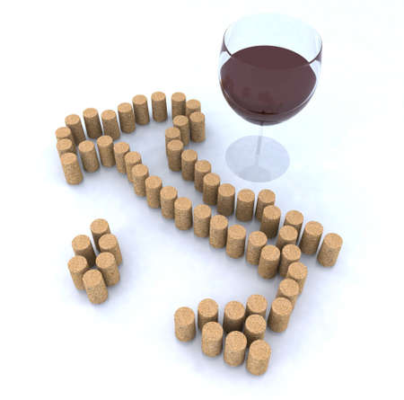 cellar: italian map with cork and glass of red wine 3d illustration Stock Photo