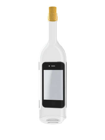phone box: smartphone in a bottle 3d illustration