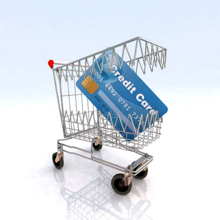 emergency cart: shopping cart that bites credit card 3d illustration